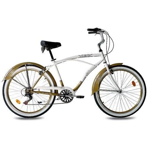 26 KCP BEACH CRUISER COMFORT BIKE MENS EASY RIDER 2 0 6S SHIMANO WHITE GOLD (WG) RETRO LOOK - (26 ZOLL)
