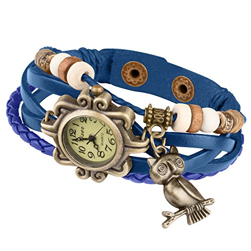 Taffstyle Damen-Armbanduhr Retro Vintage Geflochten Leder-Armband mit Charms Anhänger Analog Quarz Uhr Eule Gold Blau