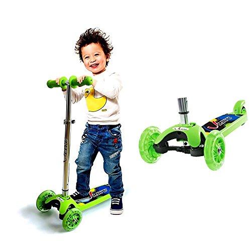 3 Räder Scooter für Kinder ab 2 Jahren, Kickboard-Scooter, Kleinkind Roller Kinderroller Scooter mit höhenverstellbarer Lenkstange und blinkenden LED Flüsterräder (Roller Mini Kick)