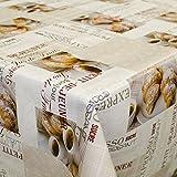 ANRO Wachstuch Wachstischdecke Tischdecke Wachstuchtischdecke Kaffee Croissant Rund 120cm