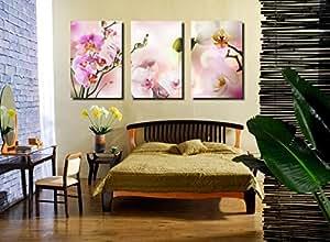 Belles orchidees photos Estampes toile, pret a accrocher, la maison moderne decoration murale Art Ensemble de 3 # 05-047