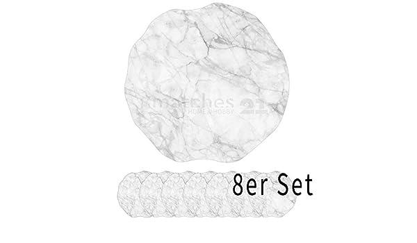 Tischsets Platzsets MOTIV Steinoptik Marmor weiß 6 Stk abwaschbar Ø 38 cm