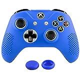eXtremeRate Schutzhülle Silikon Hülle Case, 2 Thumbstick Analog Sticks Thumbgrips für Xbox One S X Controller(Blau)
