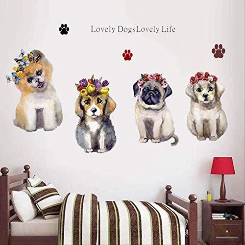 Hund Wandpaste Schlafzimmer Kopf Warme Dekoration Self-Stick Wasserdicht Wallpaper Aufkleber 60 X 90Cm -