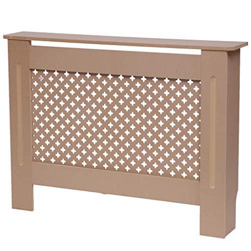 en.casa Radiator Cover Case for Heater Burn Protection Slatted MDF Boards 112 x 19 x 82 cm White