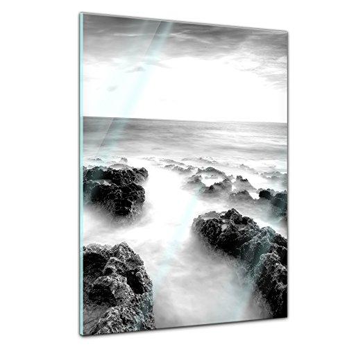Memoboard - 60 x 80 cm, Landschaft - Nebel - Glasboard Glastafel Magnettafel Memotafel Pinnwand Schreibtafel - Landschaftsszene - Natur - schwarz weiss - Nebelfeld - Steine - Felsen - Neblige Landschaft - Meer...