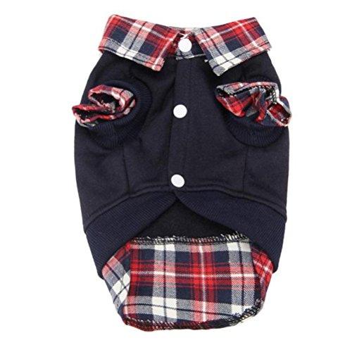 LHWY Nette Welpen Winter Warm Kleidung Pullover Poloshirt Kostüm Jacke Mantel Plaid Strickjacke Männlicher Hund (L, Schwarz)