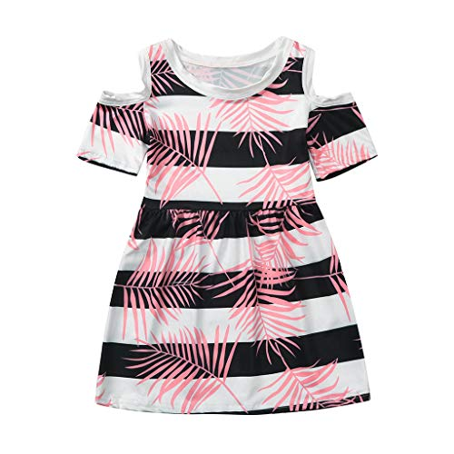 squarex Sommer Kleinkind Kinder Baby Mädchen Prinzessin Rock Coral Tropical Stripe Kleid Blumenkleid Kurzarm Bequemes Freizeitkleid Tropical Crop Hose