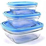 Duralex 9016AS03 - Lote de fiambreras de cristal para congelado (3 unidades), transparente con tapa azul
