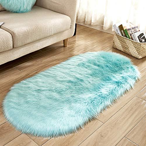 Traditionelle Ovale Teppich (WJH Fußboden Teppich Home, Flauschige matten, Moderne einfache solide geschmeidig Bequeme Matte bettvorleger Wohnzimmer warmen Boden teppiche Kinder Zimmer Teppich-O 60x150cm(24x59inch))