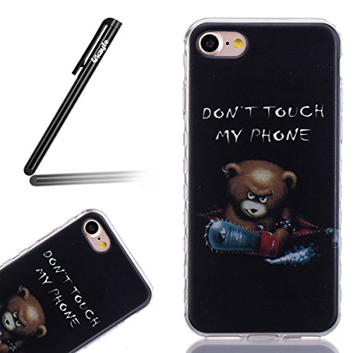 Coque Housse pour iPhone 7 Plus/iPhone 8 Plus, iPhone 8 Plus Coque Silicone Etui Housse, Galaxy S6 Souple Coque Etui en Silicone, iPhone 7 Plus Silicone Transparent Case TPU Cover, Ukayfe Etui de Prot Chainsaw Ours