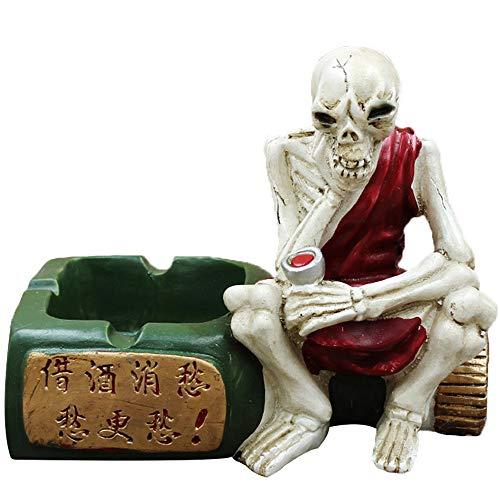 PANLISONG Diseño Creativo De Decoración De Calavera De Miedo De Halloween - Crear Atmósfera, Estilo Cenicero De Resina - Manualidades De Decoración del Hogar - Regalos para Fumadores