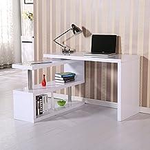 Mesa Ordenador PC 187,5x 50 x76,1cm Mueble Escritorio Despacho Estanteria Blanco