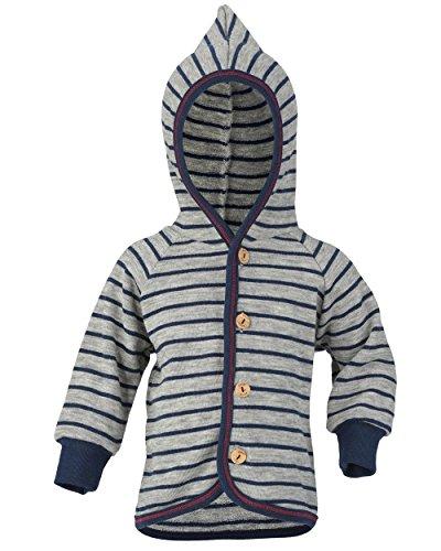 Engel Natur, Baby/Kinder Strickjacke Frottee, 100% kbT Wolle (62/68, Hellgrau melange/Marine) - 100% Wolle Jacke