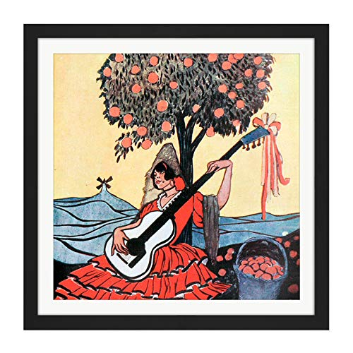 Lengo Sphere Spanish Guitar Painting Square Wooden Framed Wall Art Print Picture 16X16 Inch Español Guitarra Pintura Madera Pared Imagen