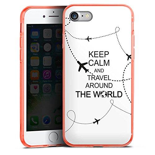 Apple iPhone 7 Silikon Hülle Case Schutzhülle Reisen Travel Keep Calm Silikon Colour Case neon-orange