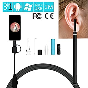 2 m 3-in-1 USB & Android & Typ-C Ohr Reinigung HD Visuelle Ohr-Löffel Multifunktionale Earpick mit Mini-Kamera Ohr-Gesundheitswesen Sichere zuverlässige Reinigungs-Tool mit Zubehör für Kinder