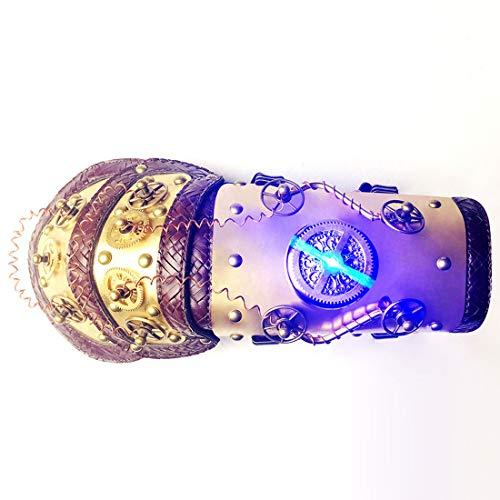 Kostüm Box Geschenk Erwachsene Für - Gxianwengen War Gauntlet Gold Arm Handschuh Half Finger mit farbigen LED-Licht Cosplay Kostüm Steampunk Requisiten Zubehör mit Geschenk-Box (Farbe : Gold)