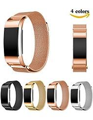 Chok Idea Milanese Loop - Pulsera de recambio para Fitbit Charge 2 de 15,5 - 21,3 cm, cierre magnético, acero inoxidable, color oro rosa