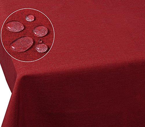 Laneetal 0800039 Tischdecke Leinendecke Leinenoptik Wasserabweisend Lotuseffekt Tischtuch Fleckschutz pflegeleicht abwaschbar schmutzabweisend Eckig 135x200 cm Rot