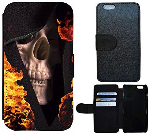 Case Flip Cover Schutz Hülle Handy Tasche Etui für (Apple iPhone 5 / 5s, 1058 Motorrad Schwarz Blau Silber) 1062 Totenkopf Skull Flammen Gelb Schwarz