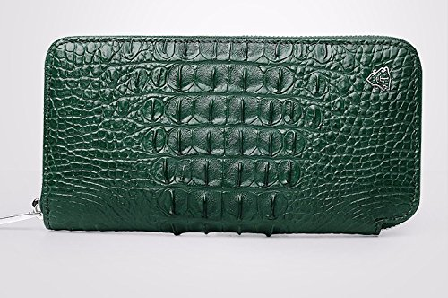 lpkone-Motif Crocodile wallet grand zip autour de portefeuille sac sac fashion sac sac à main d'embrayage Green