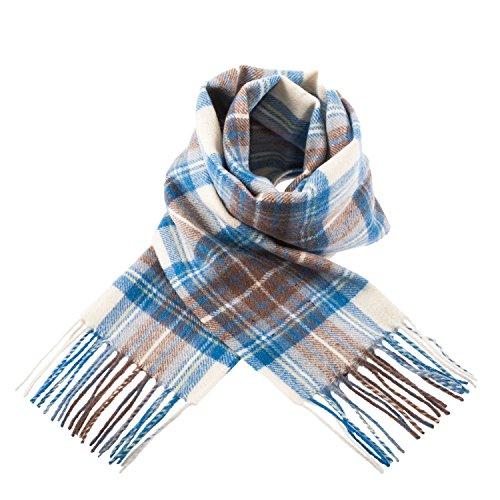 Edinburgh Lambswool - Bufanda de 100% lana de cordero, diseño de tartán escocés -  Azul -  talla...