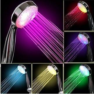 Tefamore Resplandor Brillante Ligero de la Cabeza de Ducha del Cuarto de Baño del Hogar del Baño de Agua de 7 Colores LED