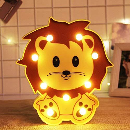 AIZESI Nachttischlampe Tiere Lion deco Lampe Lion Nightlight LED-Leuchten Wandleuchte LED Marquee Wand Batterie Lampe Dekoration für Kinderzimmer Baby Party(Lion)
