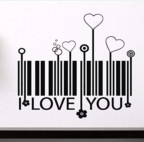 Xzfddn Wand Vinyl Aufkleber Liebe Stilisierte Barcode Vinyl Wandtattoo Herzen Florets Home Dekoration Herz Barcode Herz Wandtattoo