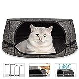 GoZheec® Katzenhöhle Bett Filz,2 IN 1 Kuschelhöhle für Katzen mit...