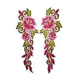 Fansi 1 Paar modische rosa Blumen-Stickerei Spitze Applikation Handgewebte Stoff-Sticker Applikation Blumen Damen Kleidung DIY Kleidung Zubehör (Style1)