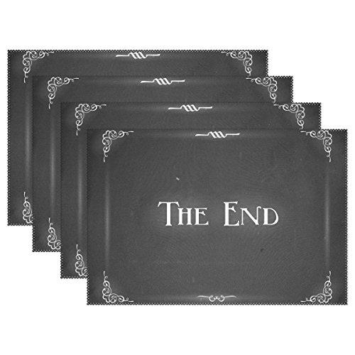 COOSUN Movie Ending Screen Tischsets, hitzebeständige Tischsets Fleckenhemmende Anti-Rutsch-Waschbare Polyester-Tischsets Nicht Slip Easy Clean Placemats, 30.5 x 45.7 cm, 1 Stück (Screen Print Slips)