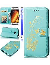 EUWLY Wallet Case for Samsung Galaxy A5 2017,Samsung Galaxy A5 2017 Case PU leather Cover with Gold Butterfly Flower Painting Design PU Leather Bookstyle Wallet Case Magnetic Closure with Stand Function PU Leather Wallet Flip Cover Sleeve Shock Resistant Anti Slip Scratch Resistant Card Slot and Banknotes Pocket with Hand Strap Lanyard For [Samsung Galaxy A5 2017] + 1 x Blue Stylus Pen- Green