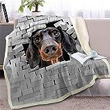 RKZM Bassotto Coperta sul Letto 3D Animale Cane Sherpa Coperte Lenzuola Bulldog Incrinato Muro di Mattoni Sottile 150 * 200 C