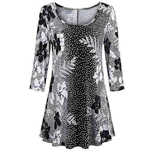 (VEMOW Sommer Herbst Elegant Damen Oberteil Langarm O Neck Printed Flared Floral Beiläufig Täglich Geschäft Trainieren Tops Tunika T-Shirt Bluse Pulli(Y3-Mehrfarbig, EU-44/CN-XL))