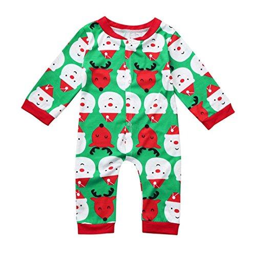 Neugeborene Strampler Hirolan Kinder Weihnachten Kleider 0-18 Monate Baby Anzug Spielanzug Hirsch Drucken Jungen O-Ausschnitt Overall Mädchen Lange Ärmel Outfit (70, Grün) (Schneemann Kostüm Tutu)