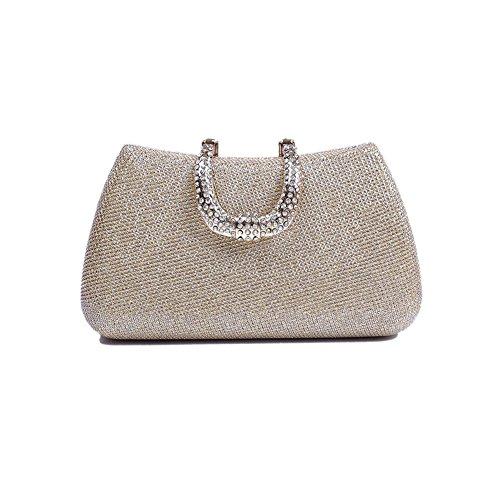 xiaoxuan coreano moda elegante Inlaid diamante partito di sera poliestere borsa Pure Colour, Black (nero) - BG00012D Oro