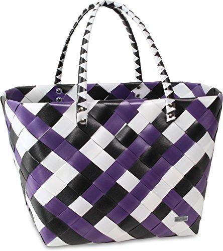 Einkaufstasche geflochten mit Henkeln - Tragetasche extra robust Visual Stripe / Purple Ratan