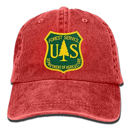 U-Only US Forest Service Flag Plain Adjustable Cowboy Cap Denim Hat for Women and Men