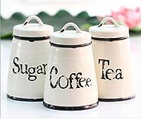 facilité Home Lot de 3Thé hermétique à sucre et à café en céramique Boîte de conservation bocaux (Crème antique)
