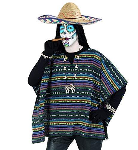 Taco Mann Kostüm - KarnevalsTeufel Kostüm Set Poncho und Sombrero 2-TLG. Hut Mexikaner und Poncho EL Taco bunt gestreift in Einheitsgröße