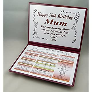 SPECIAL 70TH BIRTHDAY GIFT - THE DAY YOU WERE BORN - KEEPSAKE