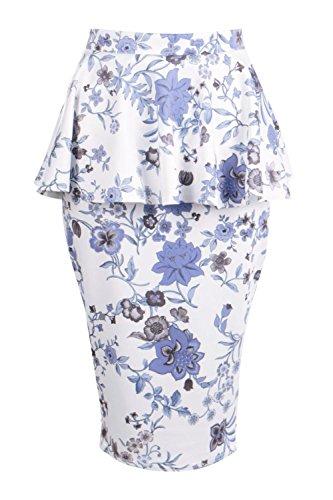 Damen Blau Ana Midirock Mit Schößchen Und Blumen-print Blau