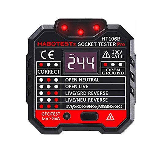 CHOULI GFCI Outlet Tester Power Socket Electric Circuit Polarity Voltage Detector EU Black Voltage Detector Circuit