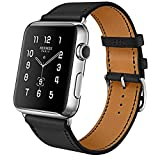 MroTech Lederarmband für Apple Watch Armband 38mm und 40mm Leder schwarz iWatch Uhrenarmband Echtleder Ersatzarmband für Apple Watch Serie 1 2 3 4, Sport Edition Nike+(38 mm, Single Loop-Schwarz)