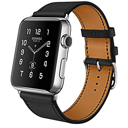 Apple Watch Sport (Armband für Apple Watch, MroTech Leder Armband Vintage Echtleder Uhrenarmband für iWatch Series 3, Series 2, Series 1, Apple Watch Sport Edition und Nike+ (38mm, Schwarz))