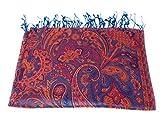 Luxus Seidenschal Schal 100% Seide jacquard gewebt elegante Farben mit Fransen 75 x 185 cm Paisley Muster Seidentuch - VIELE MUSTER (Blau-Orange)