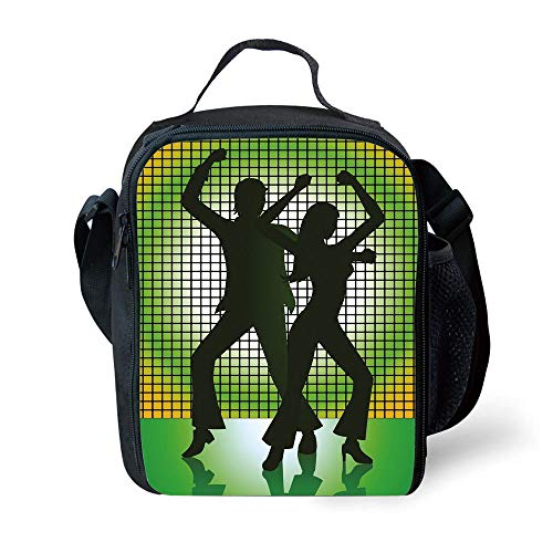 MLNHY School Supplies 70s Party Decorations,Silhouette Illustration of Couple Dancing in Disco Decorative,Light Green Dark Green Yellow for Girls or Boys Washable