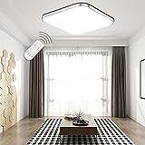 ETiME® LED Deckenleuchte Dimmbar Deckenlampe LED Modern Wohnzimmer Lampe Schlafzimmer Küche Panel Leuchte 2700-6500K mit Fernbedienung Silber (53x53cm 36W Dimmbar)